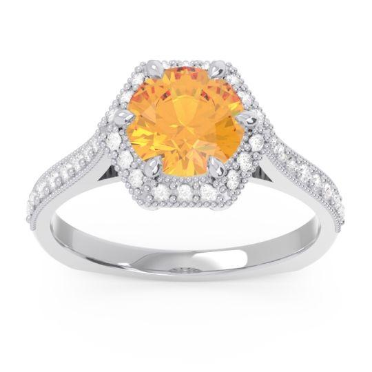 Citrine Halo Milgrain Pave Karkata Ring with Diamond in 14k White Gold