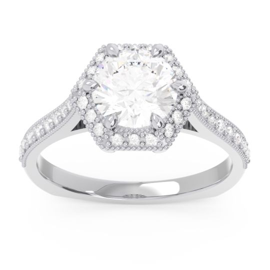Halo Milgrain Pave Karkata Diamond Ring in 14k White Gold