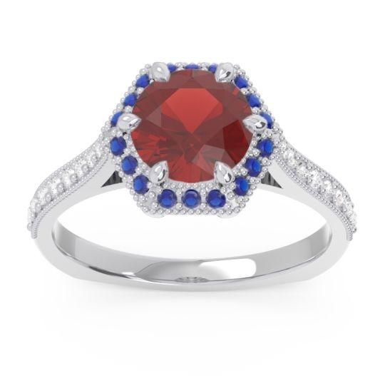 Garnet Halo Milgrain Pave Karkata Ring with Blue Sapphire and Diamond in Platinum