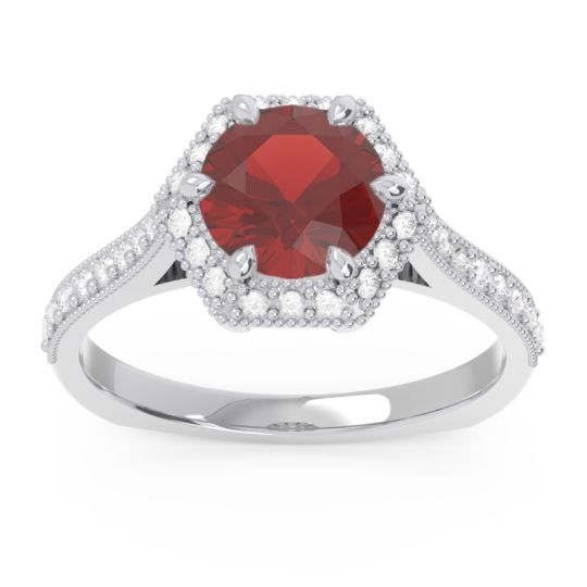 Halo Milgrain Pave Karkata Garnet Ring with Diamond in 14k White Gold