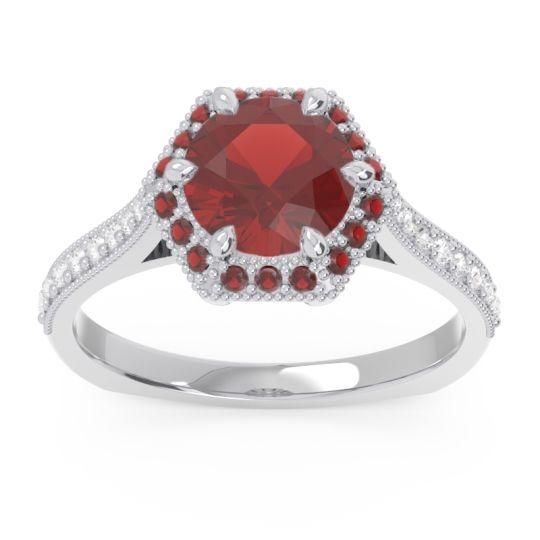 Garnet Halo Milgrain Pave Karkata Ring with Diamond in Platinum