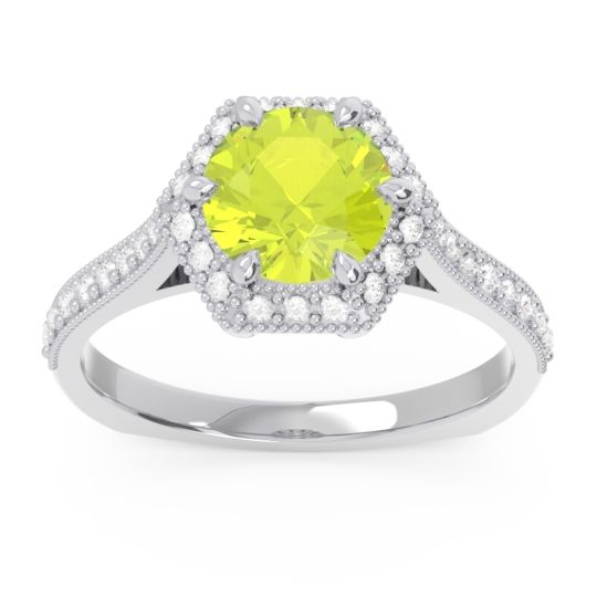 Peridot Halo Milgrain Pave Karkata Ring with Diamond in 14k White Gold