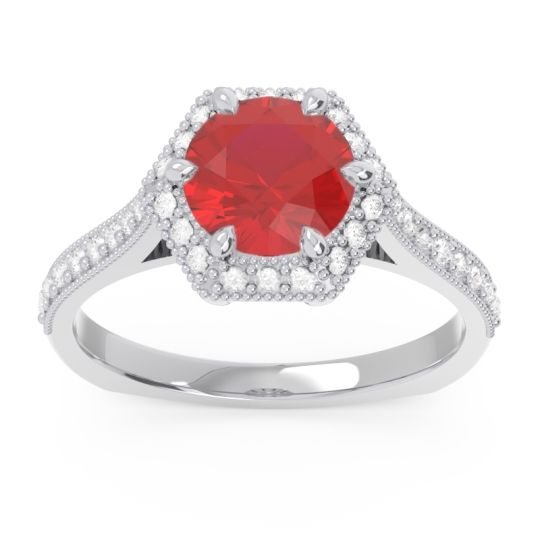 Halo Milgrain Pave Karkata Ruby Ring with Diamond in 14k White Gold