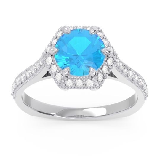 Swiss Blue Topaz Halo Milgrain Pave Karkata Ring with Diamond in 14k White Gold