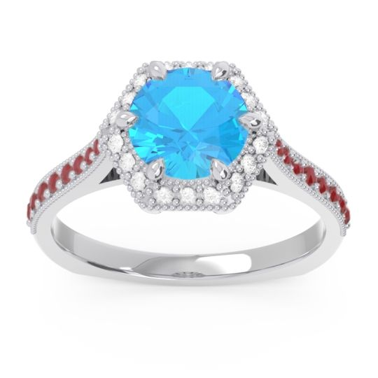 Swiss Blue Topaz Halo Milgrain Pave Karkata Ring with Diamond and Ruby in 18k White Gold