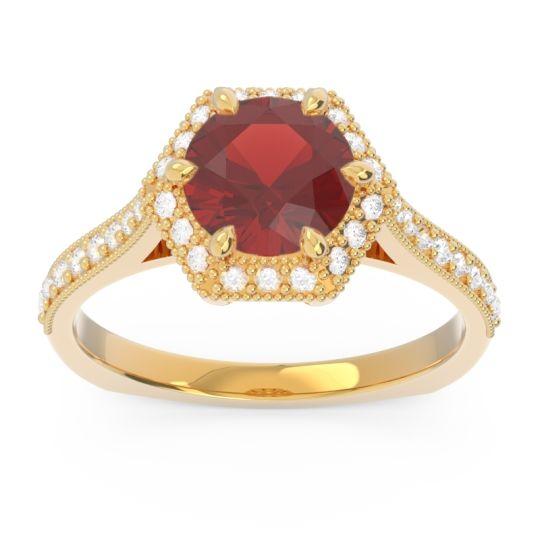 Garnet Halo Milgrain Pave Karkata Ring with Diamond in 14k Yellow Gold