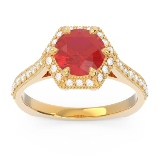 Halo Milgrain Pave Karkata Ruby Ring with Diamond in 14k Yellow Gold