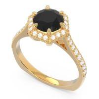 Black Onyx Halo Milgrain Pave Karkata Ring with Diamond in 18k Yellow Gold