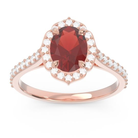 Halo Pave Oval Prasava Garnet Ring with Diamond in 18K Rose Gold