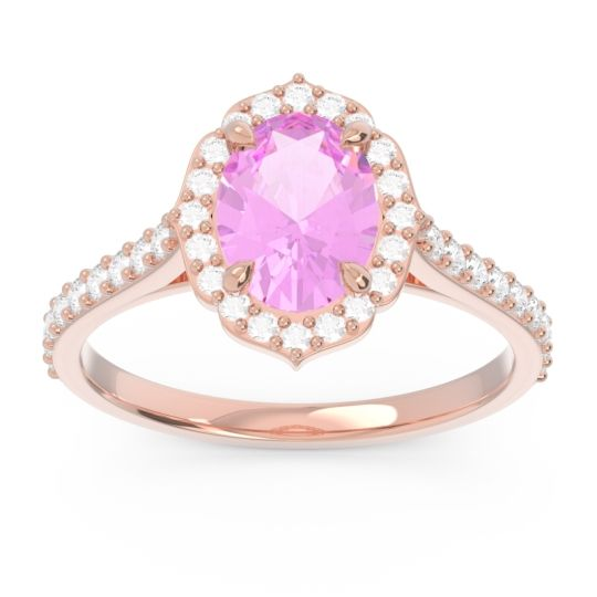 Pink Tourmaline Halo Pave Oval Prasava Ring with Diamond in 14K Rose Gold