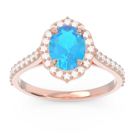 Swiss Blue Topaz Halo Pave Oval Prasava Ring with Diamond in 18K Rose Gold