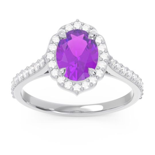 Halo Pave Oval Prasava Amethyst Ring with Diamond in 14k White Gold