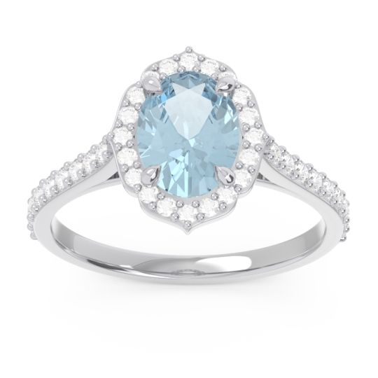 Halo Pave Oval Prasava Aquamarine Ring with Diamond in 14k White Gold