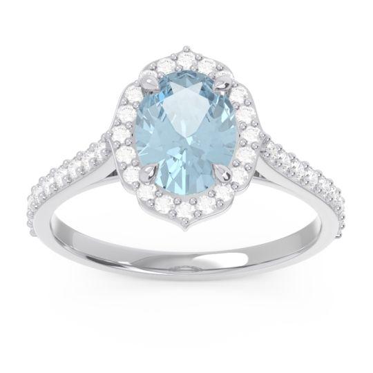 Aquamarine Halo Pave Oval Prasava Ring with Diamond in 14k White Gold