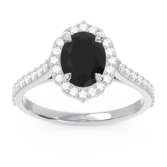 Halo Pave Oval Prasava Black Onyx Ring with Diamond in 14k White Gold