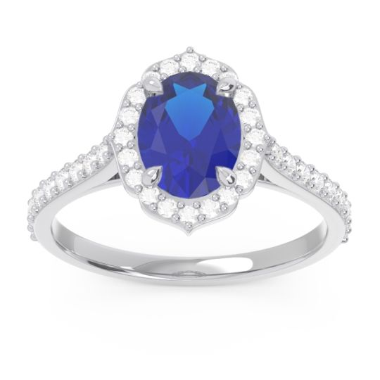 Halo Pave Oval Prasava Blue Sapphire Ring with Diamond in 14k White Gold