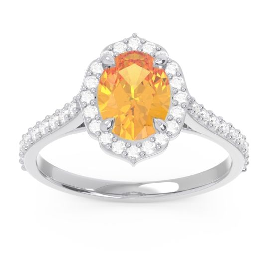 Halo Pave Oval Prasava Citrine Ring with Diamond in 14k White Gold
