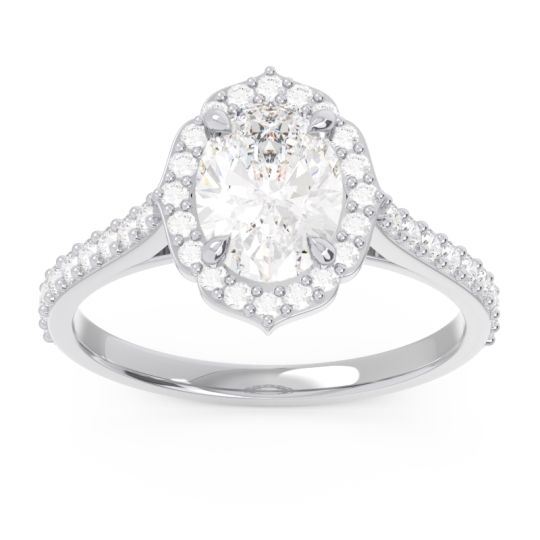 Halo Pave Oval Prasava Diamond Ring in 14k White Gold