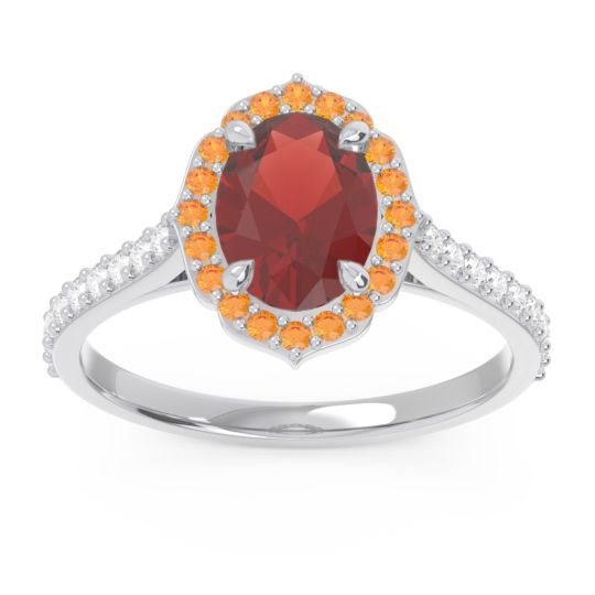Garnet Halo Pave Oval Prasava Ring with Citrine and Diamond in 14k White Gold