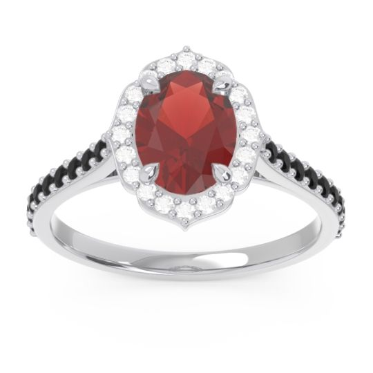 Garnet Halo Pave Oval Prasava Ring with Diamond and Black Onyx in 14k White Gold