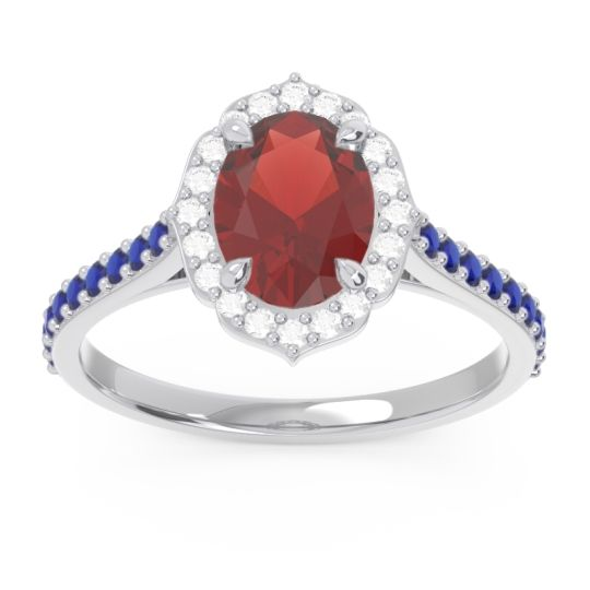 Garnet Halo Pave Oval Prasava Ring with Diamond and Blue Sapphire in 14k White Gold
