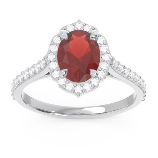Halo Pave Oval Prasava Garnet Ring with Diamond in 14k White Gold