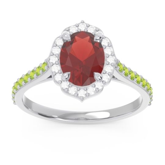 Halo Pave Oval Prasava Garnet Ring with Diamond and Peridot in 14k White Gold