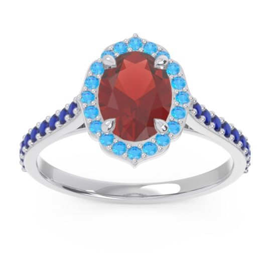 Garnet Halo Pave Oval Prasava Ring with Swiss Blue Topaz and Blue Sapphire in 14k White Gold