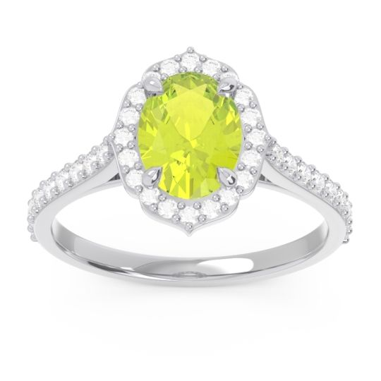 Peridot Halo Pave Oval Prasava Ring with Diamond in 14k White Gold