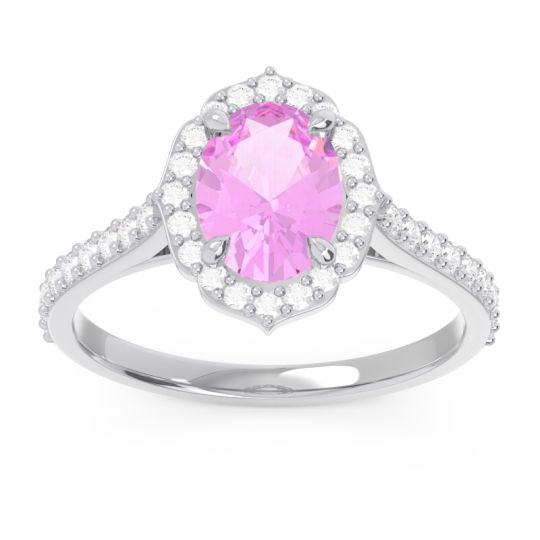 Halo Pave Oval Prasava Pink Tourmaline Ring with Diamond in 14k White Gold
