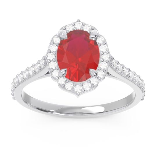 Halo Pave Oval Prasava Ruby Ring with Diamond in 14k White Gold