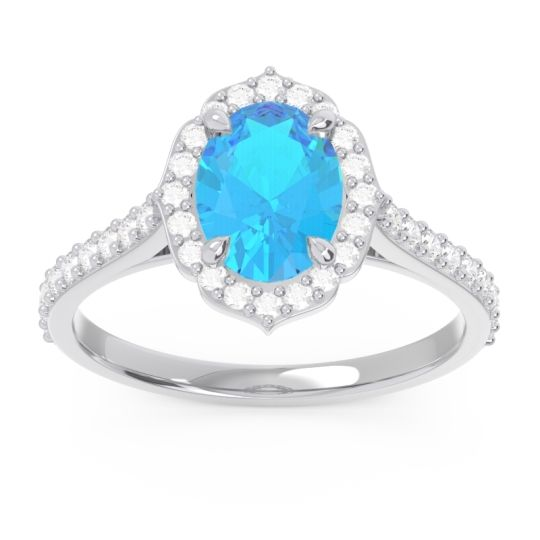 Swiss Blue Topaz Halo Pave Oval Prasava Ring with Diamond in 14k White Gold