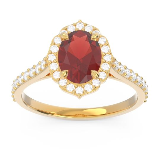 Halo Pave Oval Prasava Garnet Ring with Diamond in 14k Yellow Gold