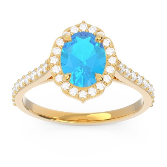 Swiss Blue Topaz Halo Pave Oval Prasava Ring with Diamond in 18k Yellow Gold