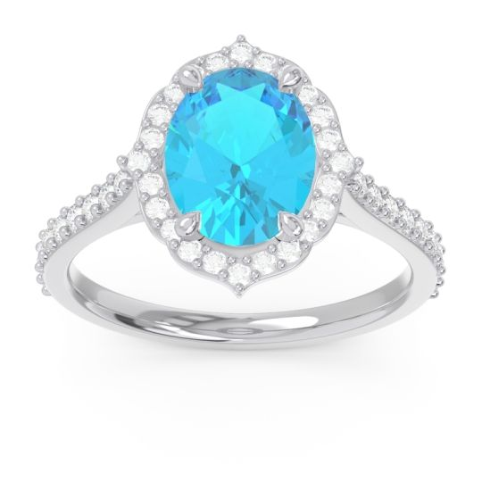 Halo Pave Grand Oval Prasava Swiss Blue Topaz Ring with Diamond in 14k White Gold