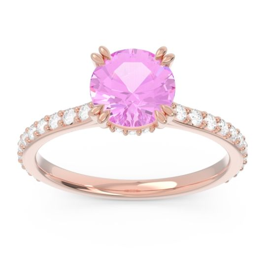 Pink Tourmaline Pave Luta Ring with Diamond in 14K Rose Gold