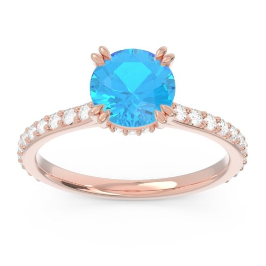 Swiss Blue Topaz Pave Luta Ring with Diamond in 18K Rose Gold