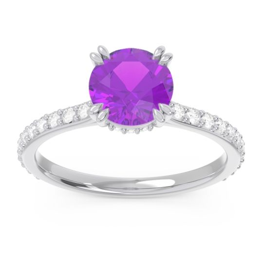 Amethyst Pave Luta Ring with Diamond in 14k White Gold