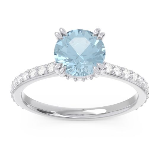 Pave Luta Aquamarine Ring with Diamond in 14k White Gold