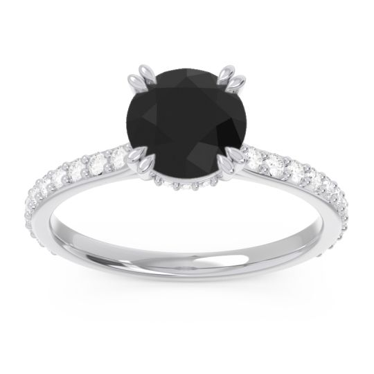Black Onyx Pave Luta Ring with Diamond in 14k White Gold