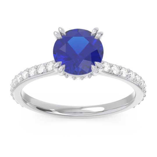Blue Sapphire Pave Luta Ring with Diamond in 14k White Gold