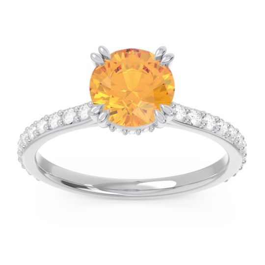 Pave Luta Citrine Ring with Diamond in 14k White Gold