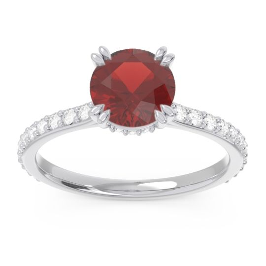 Garnet Pave Luta Ring with Diamond in 14k White Gold