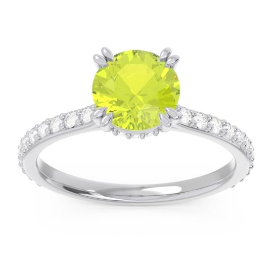 Peridot Pave Luta Ring with Diamond in 14k White Gold