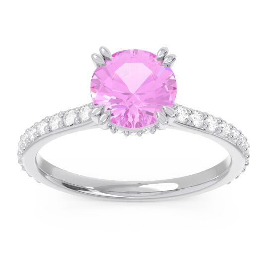 Pink Tourmaline Pave Luta Ring with Diamond in 14k White Gold