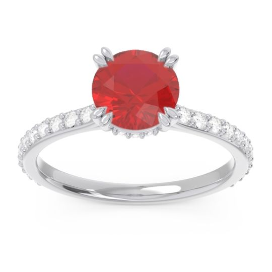 Ruby Pave Luta Ring with Diamond in 14k White Gold