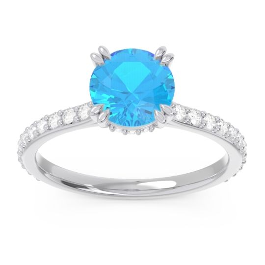 Swiss Blue Topaz Pave Luta Ring with Diamond in 14k White Gold