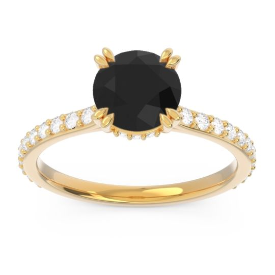 Black Onyx Pave Luta Ring with Diamond in 18k Yellow Gold