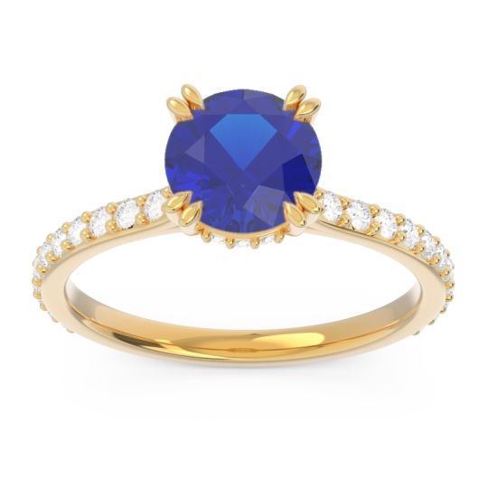 Blue Sapphire Pave Luta Ring with Diamond in 18k Yellow Gold
