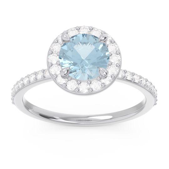 Halo Pave Citraka Aquamarine Ring with Diamond in 14k White Gold